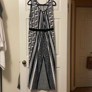 Women's Black and White Sleeveless Maxi Dress 2X
